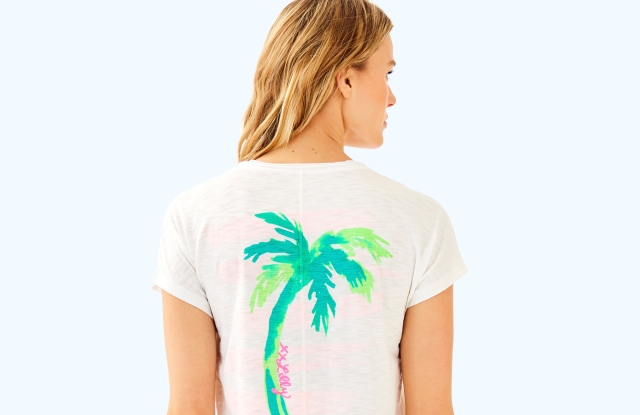 "Lilly Pulitzer's ""Happiness Never Goes Out of Style"" T-shirt."