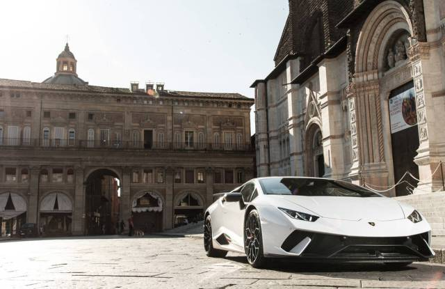 A white Lamborghini that was purchased using bitcoins.