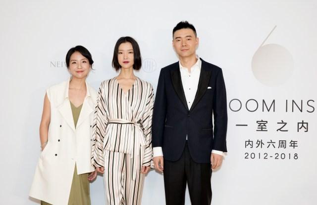 Neiwai co-founder Xiaolu Liu, model Du Juan and co-founder Jiang Li at the brand's sixth anniversary celebration in Shanghai.
