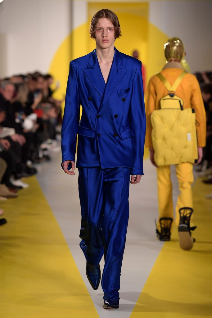 Galliano first showed a bias-cut men's suit for Maison Margiela for fall 2018.
