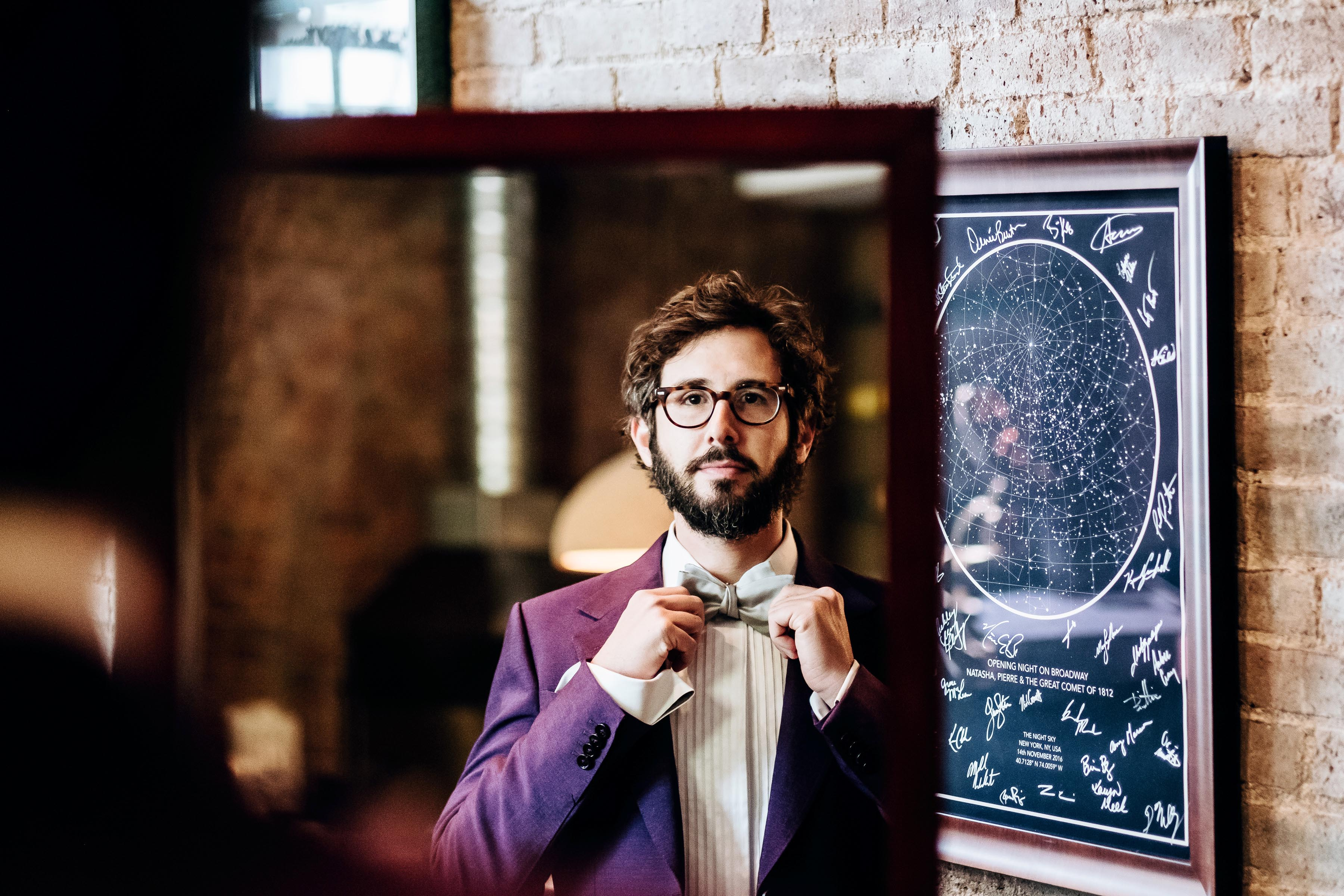 Josh Groban tries on suits for the 2018 Tony Awards.  Photographed by Nina Westervelt