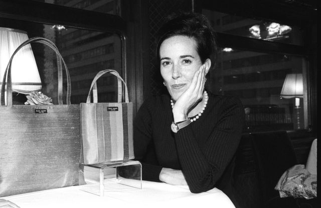 Designer Kate Spade at an event with handbags of her own design on October 9, 1998 in New York.Kate Spade, New York