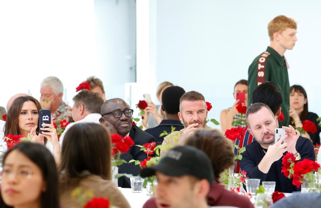 Victoria Beckham, Edward Enninful, David Beckham and Kim Jones at the Kent and Curwen Spring 2019 show