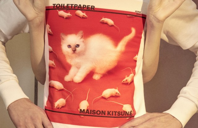 A hoodie from the Toiletpaper and Maison Kitsune collaboration.