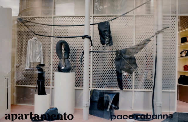 Appartamento magazine's window display for Paco Rabanne