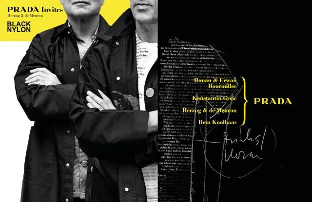 Prada Invites advertising campaign featuring Herzog & de Meuron.