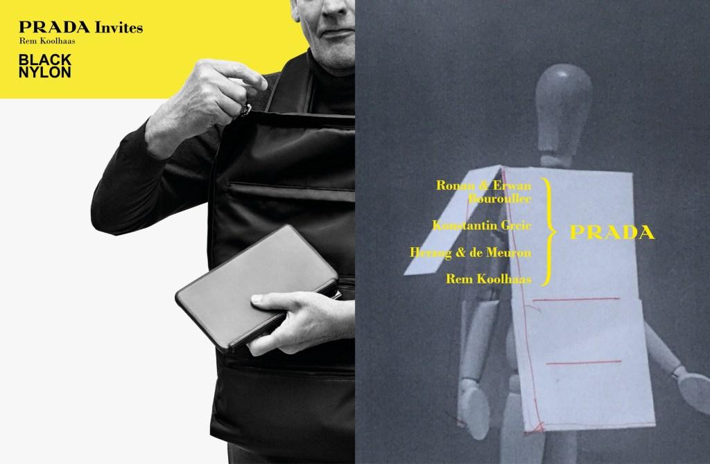 Prada Invites advertising campaign featuring Rem Koolhaas.