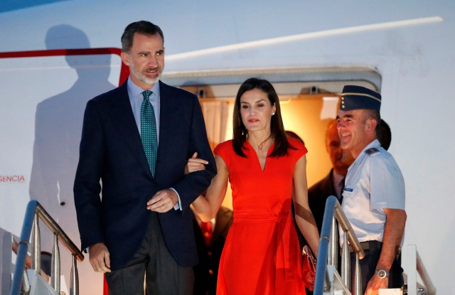 Queen Letizia and King Felipe arriving in New Orleans