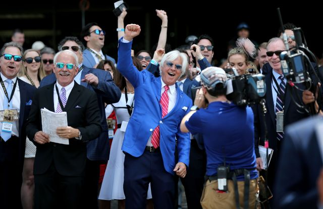 Bob BaffertThe 150th Running Belmont Stakes, New York, USA - 09 Jun 2018Trainer of Justify, Bob Baffert (C) watches the Brooklyn Invitational race at Belmont race track in Queens, New York, USA, 09 June 2018. His horse Hoppertunity went on to win the race.