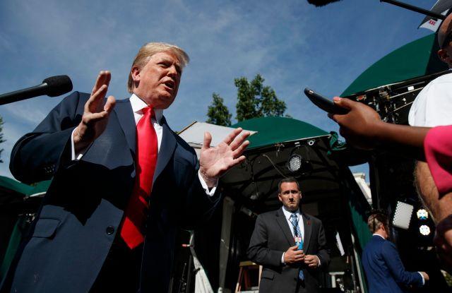 President Donald Trump speaks to reporters at the White House, in WashingtonTrump, Washington, USA - 15 Jun 2018