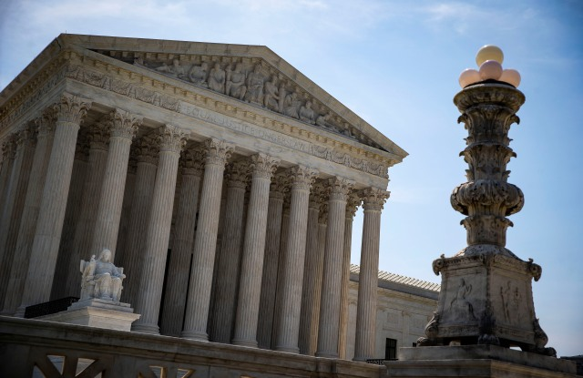 The Supreme Court is seen from outside in Washington, DC, USA, 18 June 2018. The Supreme Court on Monday sidestepped two major cases concerning partisan gerrymandering, allowing controversial district maps to stand and be used in this fall's midterm elections.Supreme Court, Washington, USA - 18 Jun 2018