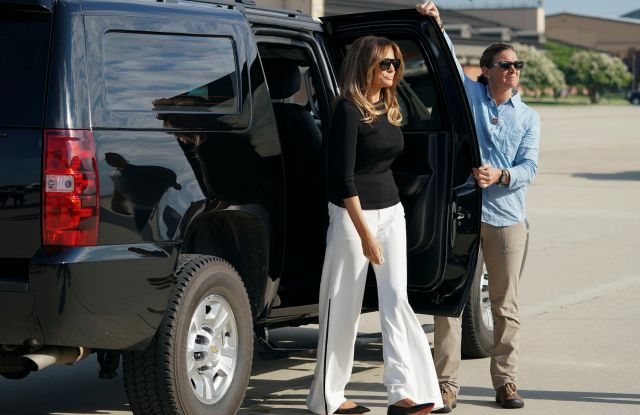 First lady Melania Trump arrives on the tarmac to board an airplane at Andrews Air Force Base, Md., . The first lady is traveling to Arizona to view additional immigration facilitiesMelania Trump, Andrews Air Force Base, USA - 28 Jun 2018
