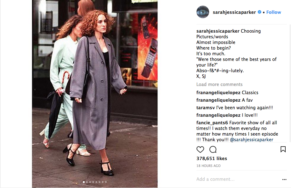 Sarah Jessica Parker's Instagram post celebrating the 20th anniversary of Sex & The City