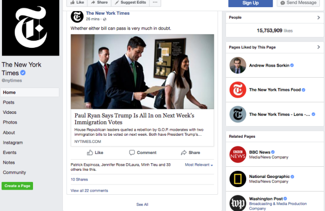 The New York Times' main Facebook page.