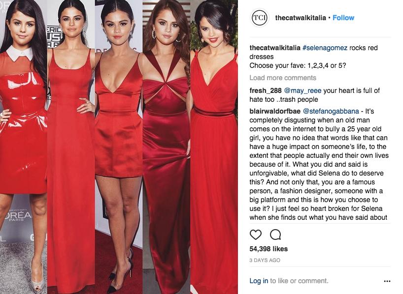 @thecatwalkitalia post on Selena Gomez.