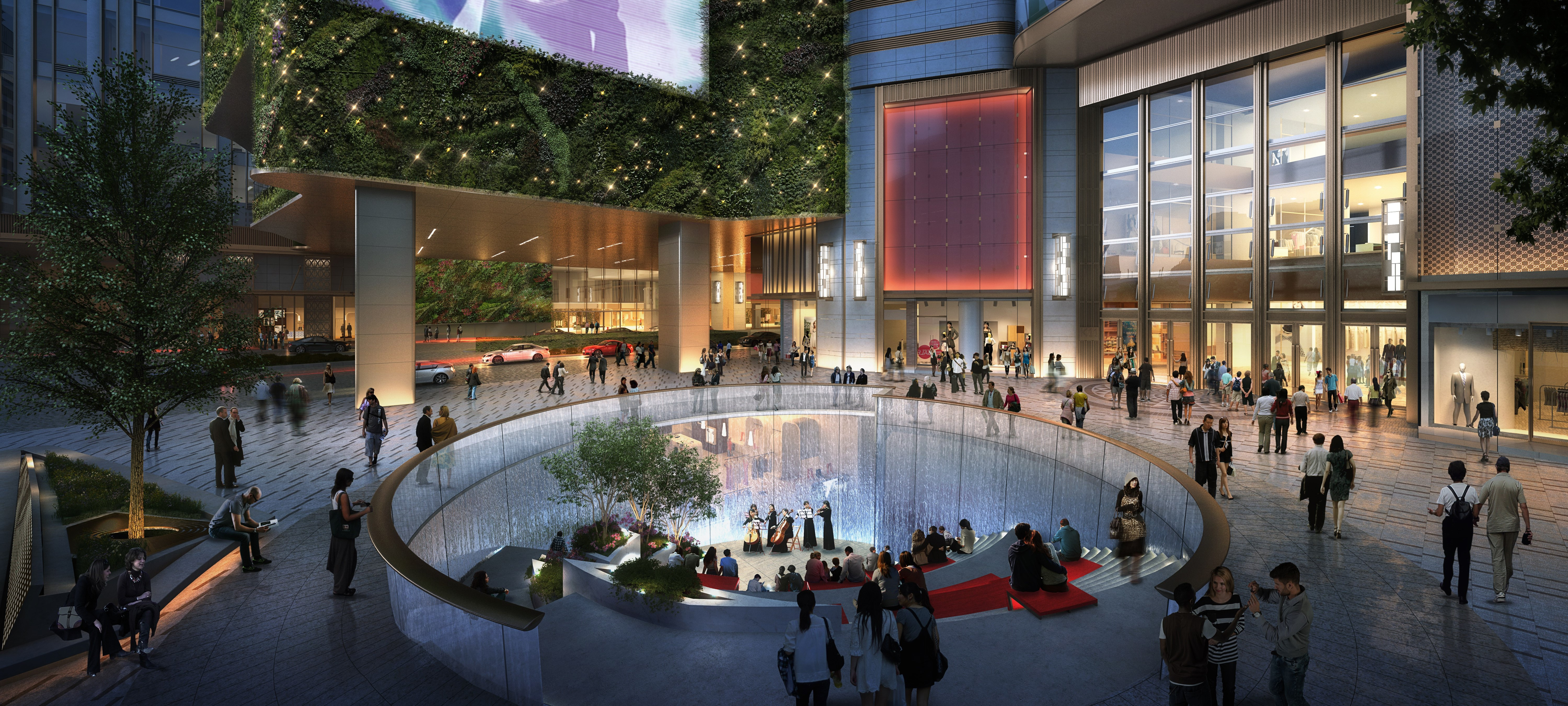 The outdoor space of K11 Musea includes a sunken plaza.