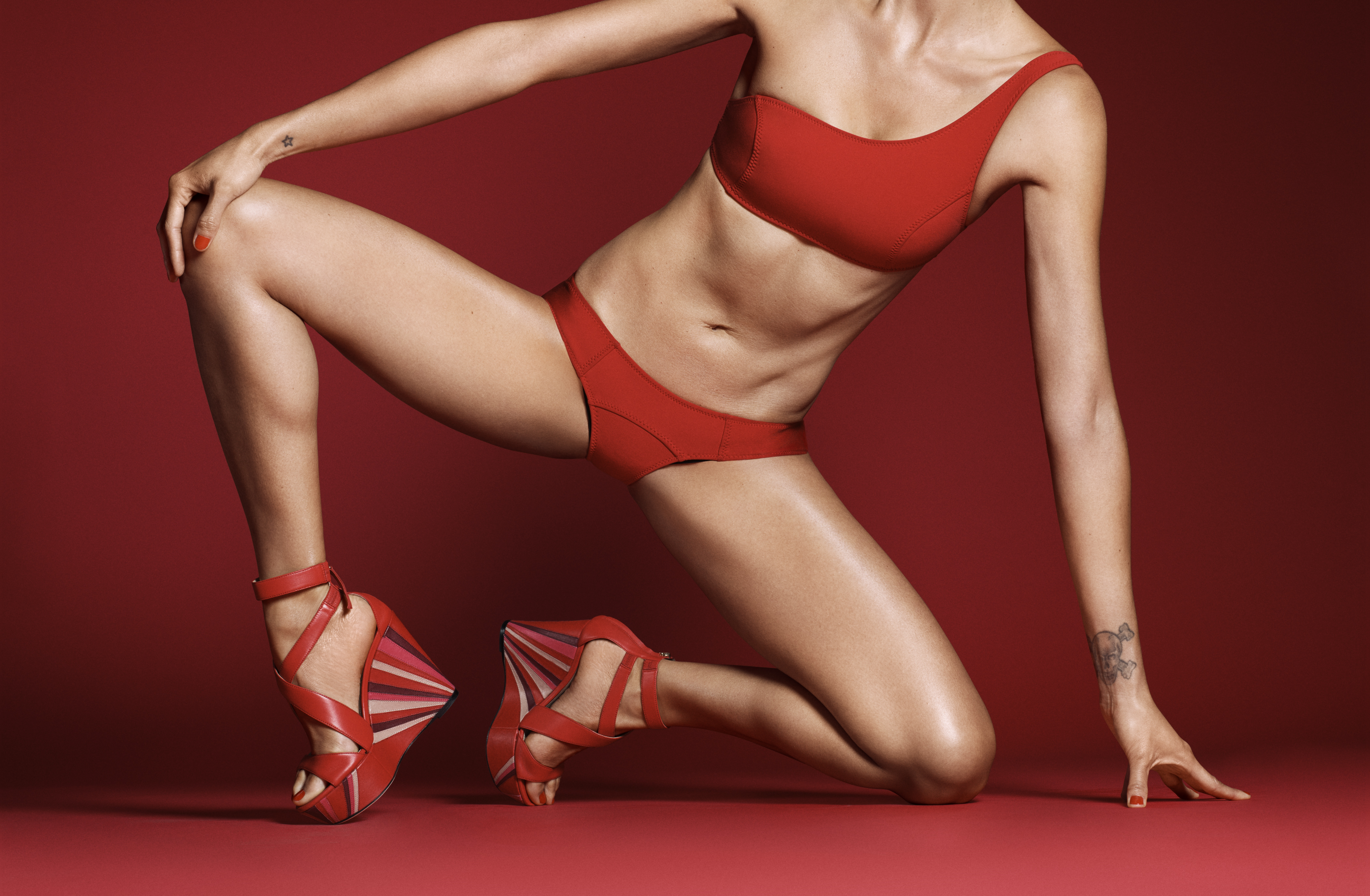 A shoe style from the Tamara Mellon Leave Him on Red collection
