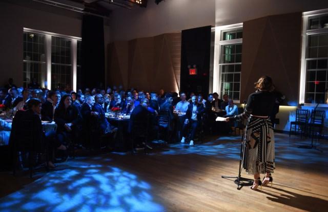 Glennda Testone speaking at the event.