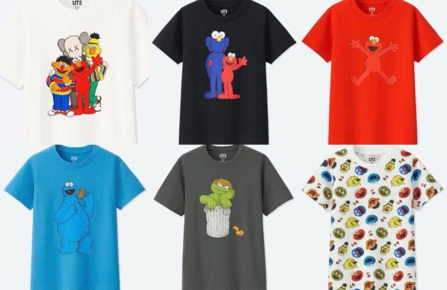 Designs from UT's Kaws x Sesame Street collection.
