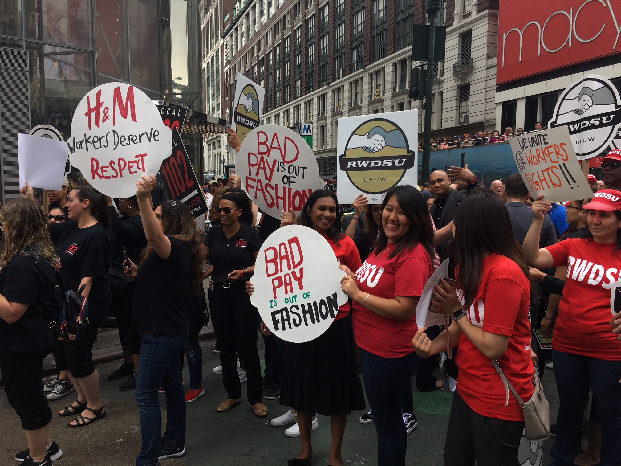 Demonstrators outside of H&M's Herald Square store Wednesday.