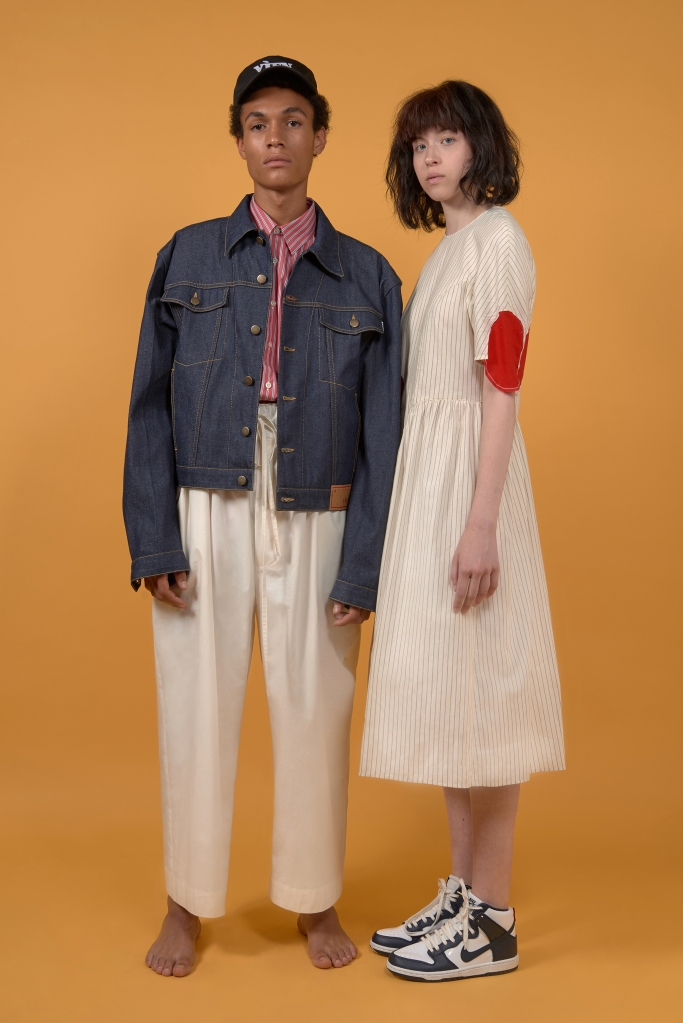 A men's and a women's look from Vìen Spring 2019 collection.