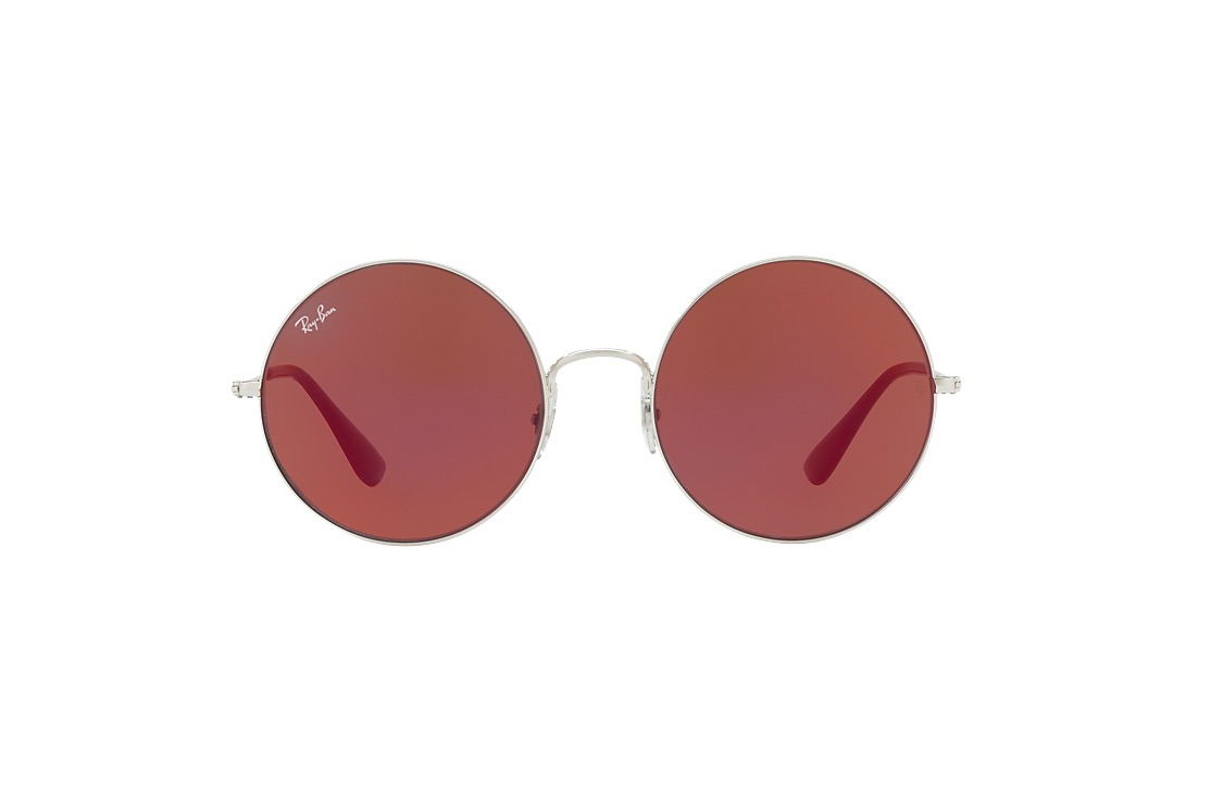 Ray Ban red extra-large round lensed sunglasses $168, available at Sunglass Hut.