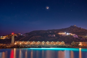A nighttime view of the Santa Marina Resort & Villas.