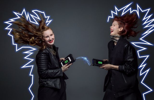 360 Fashion Network founder and CEO Anina Trepte (R) with model, in a campaign image for the 360 Fashion Network recharging wallet.