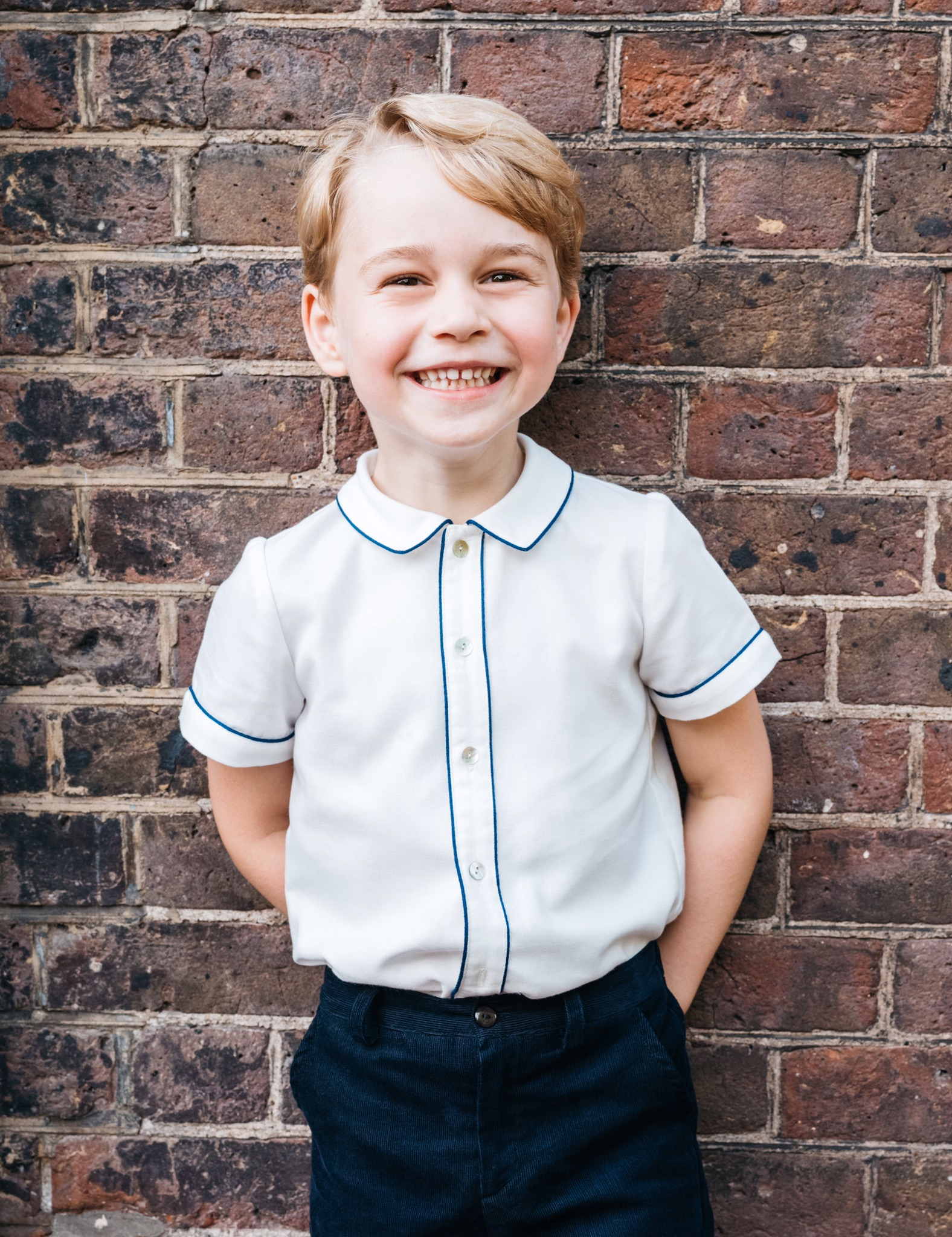 HANDOUT EDITORIAL USE ONLY/NO SALES/NO ARCHIVESMandatory Credit: Photo by Matt Porteous/KENSINGTON PALACE/HANDOUT/EPA-EFE/REX/Shutterstock (9767295a)Prince GeorgePrince George turns 5, London, United Kingdom - 21 Jul 2018A handout photo made available by the Duke and Duchess of Cambridge via PA on 21 July 2018 to mark the fifth birthday of Britain's Prince George. The picture was taken in the garden at Clarence House in London, Britain on 09 July 2018, following the christening of Prince Louis. Prince George will celebrate his 5th birthday on 22 July 2018.ATTENTION EDITORS: NEWS EDITORIAL USE ONLY. NO COMMERCIAL USE. NO MERCHANDISING, ADVERTISING, SOUVENIRS, MEMORABILIA or COLOURABLY SIMILAR. NOT FOR USE AFTER 31 DECEMBER 2018 WITHOUT PRIOR PERMISSION FROM KENSINGTON PALACE. Copyright in the photograph is vested in The Duke and Duchess of Cambridge. Publications are asked to credit the photographs to Matt Porteous. No charge should be made for the supply, release or publication of the photograph. The photograph must not be digitally enhanced, manipulated or modified in any manner or form and must include all of the individuals in the photograph when published.
