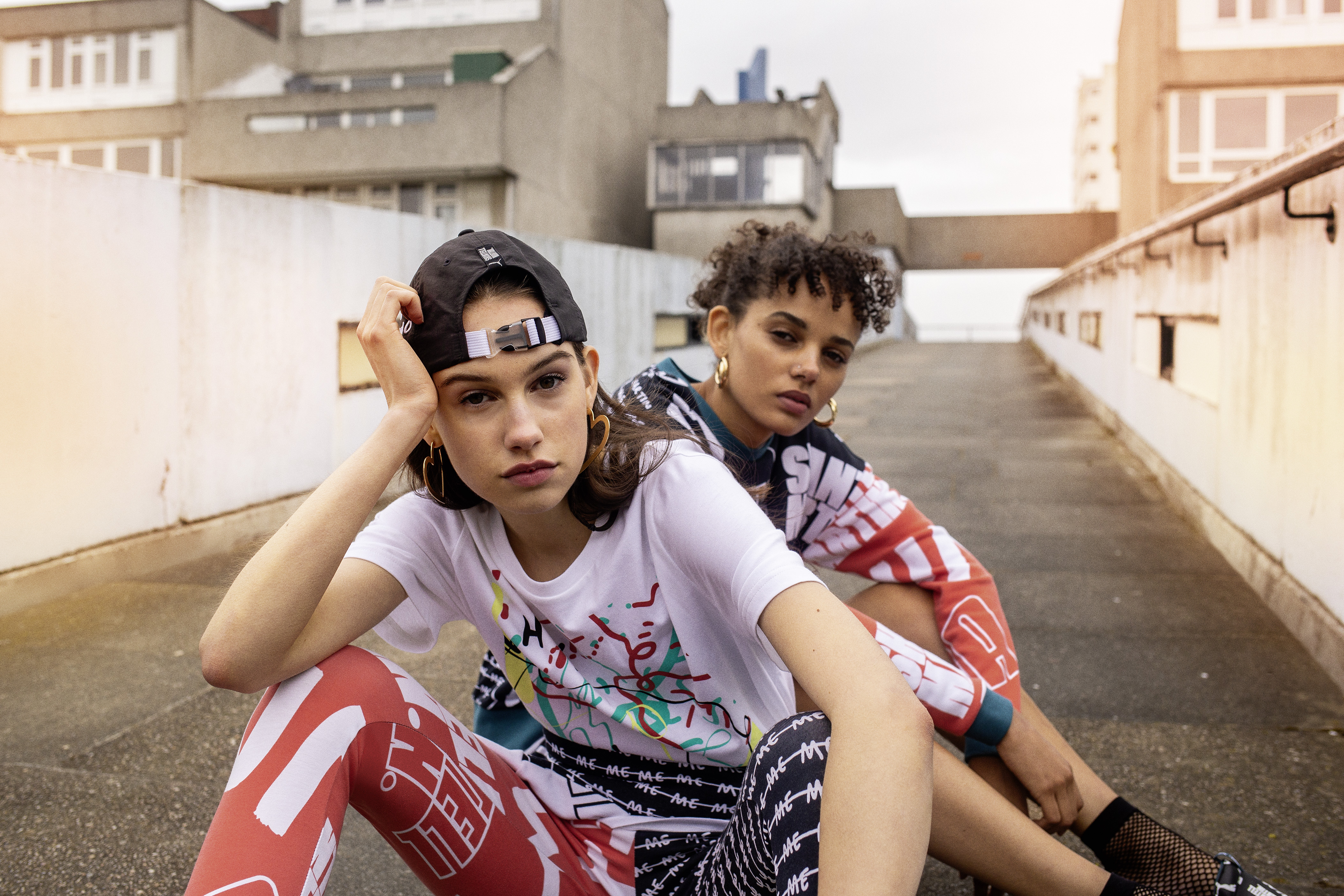 Looks from Shantell Martin's collaboration with Puma that were shot in Thamesmead.