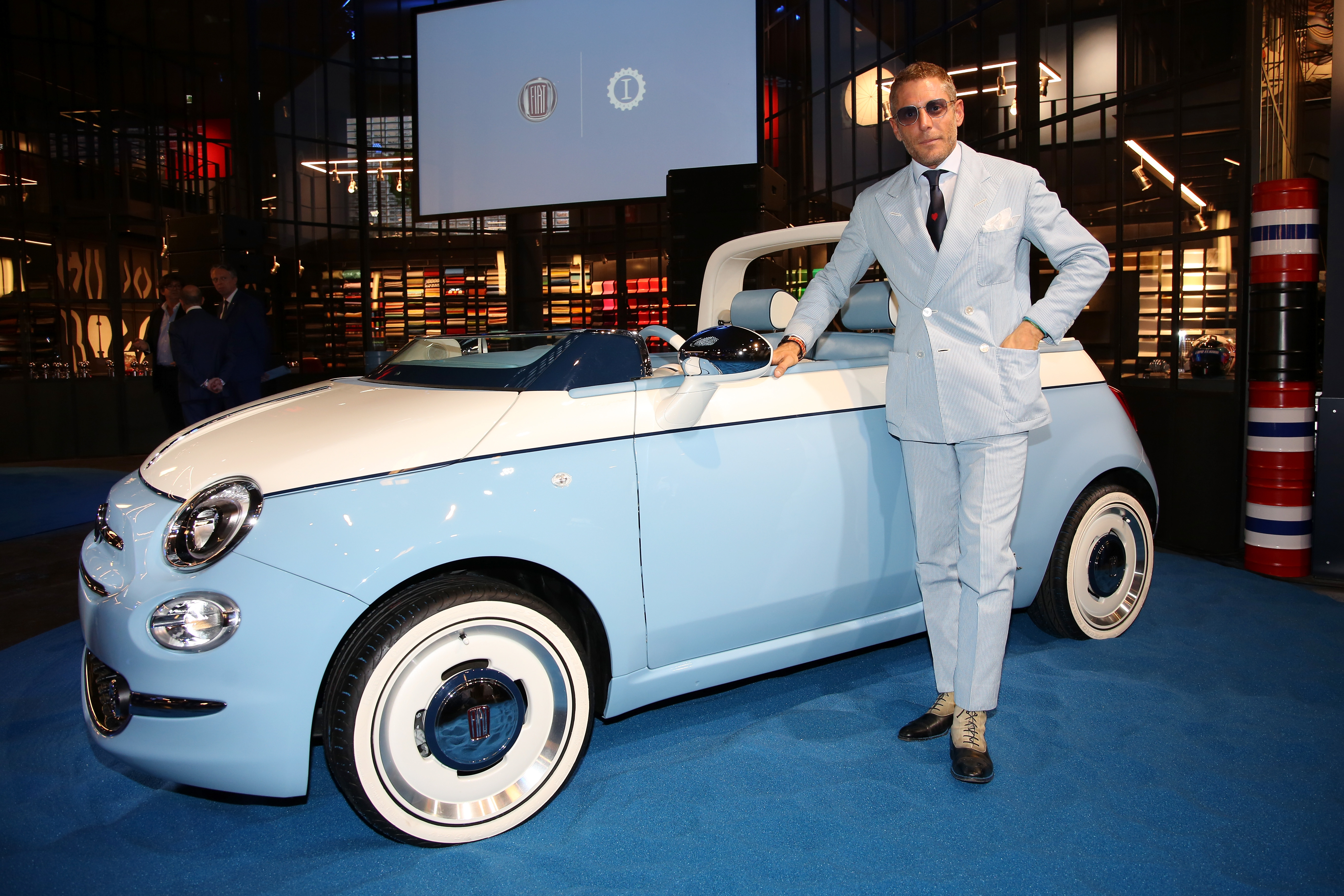 Lapo Elkann posing with the new Spiaggina by Garage Italia MILAN, ITALY - JULY 04: Lapo Elkann attends HAPPY BIRTHDAY FIAT 500 Event in Milan on July 4, 2018 in Milan, Italy. (Photo by Vincenzo Lombardo/Getty Images for Garage Italia ) *** Local Caption *** Lapo Elkann