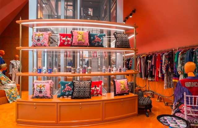 A display heralding Gucci's new space at Dover Street Market.
