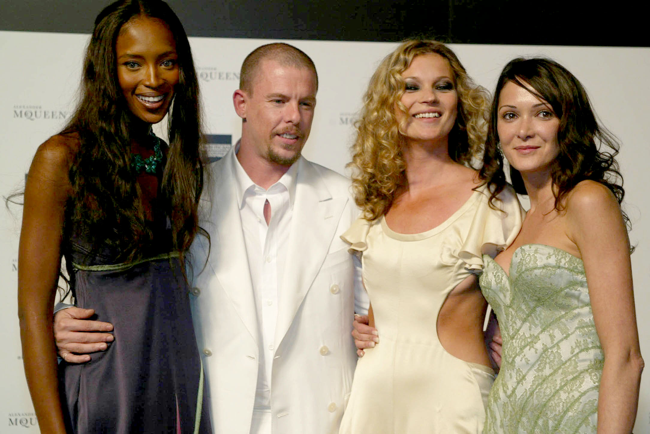 Naomi Campbell, Lee Alexander McQueen, Kate Moss and Annabelle Neilson at the 'Black' Art And Fashion Charity Auction For Lighthouse Services Charity hosted by Alexander Mcqueen in London, 2004