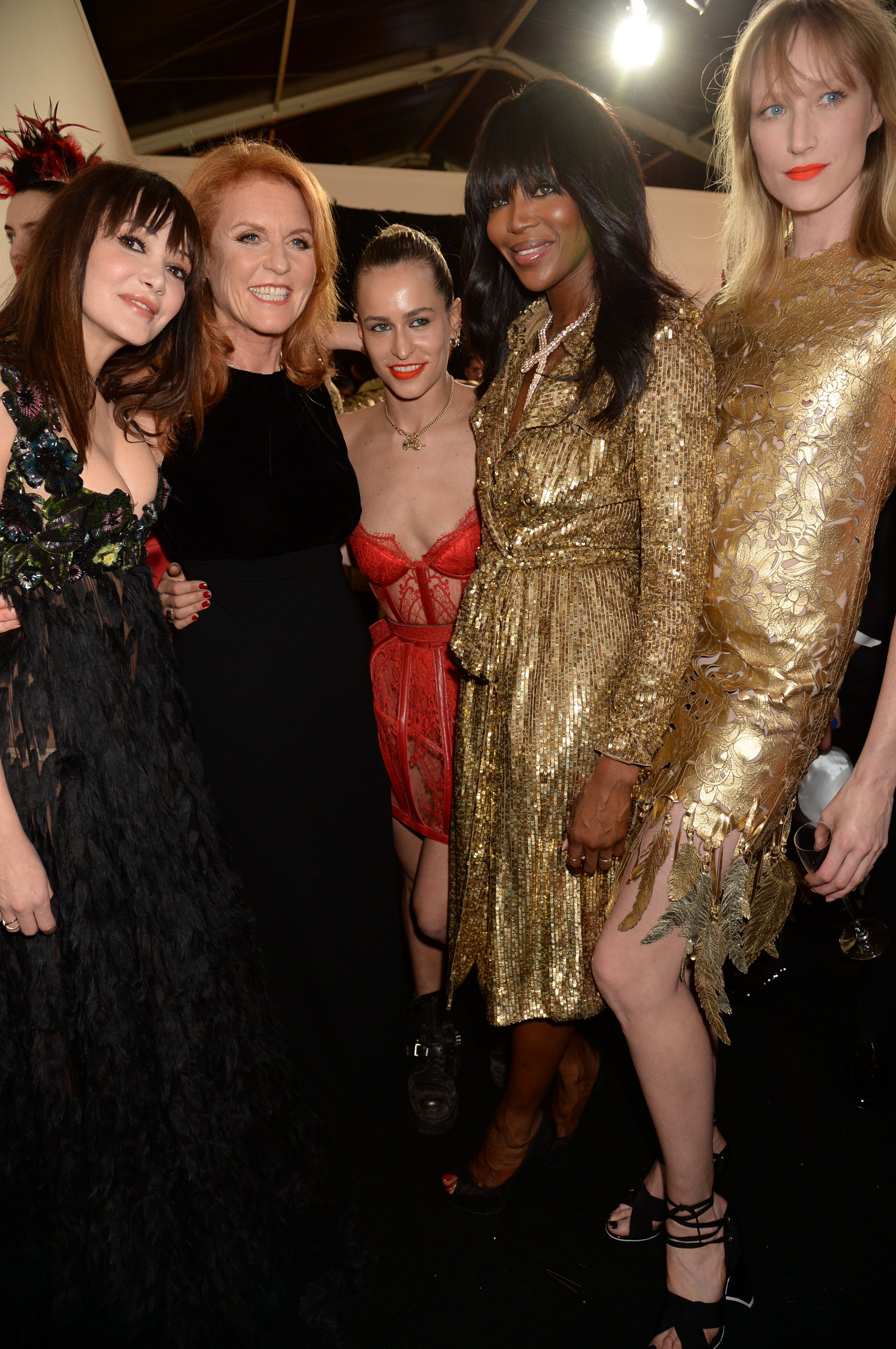 Annabelle Neilson, Sarah Ferguson, Alice Dellal, Naomi Campbell and Jade Parfitt at the Fashion For Relief Show in 2015