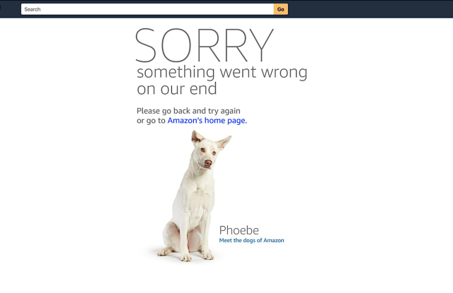 Amazon's doggie error message.