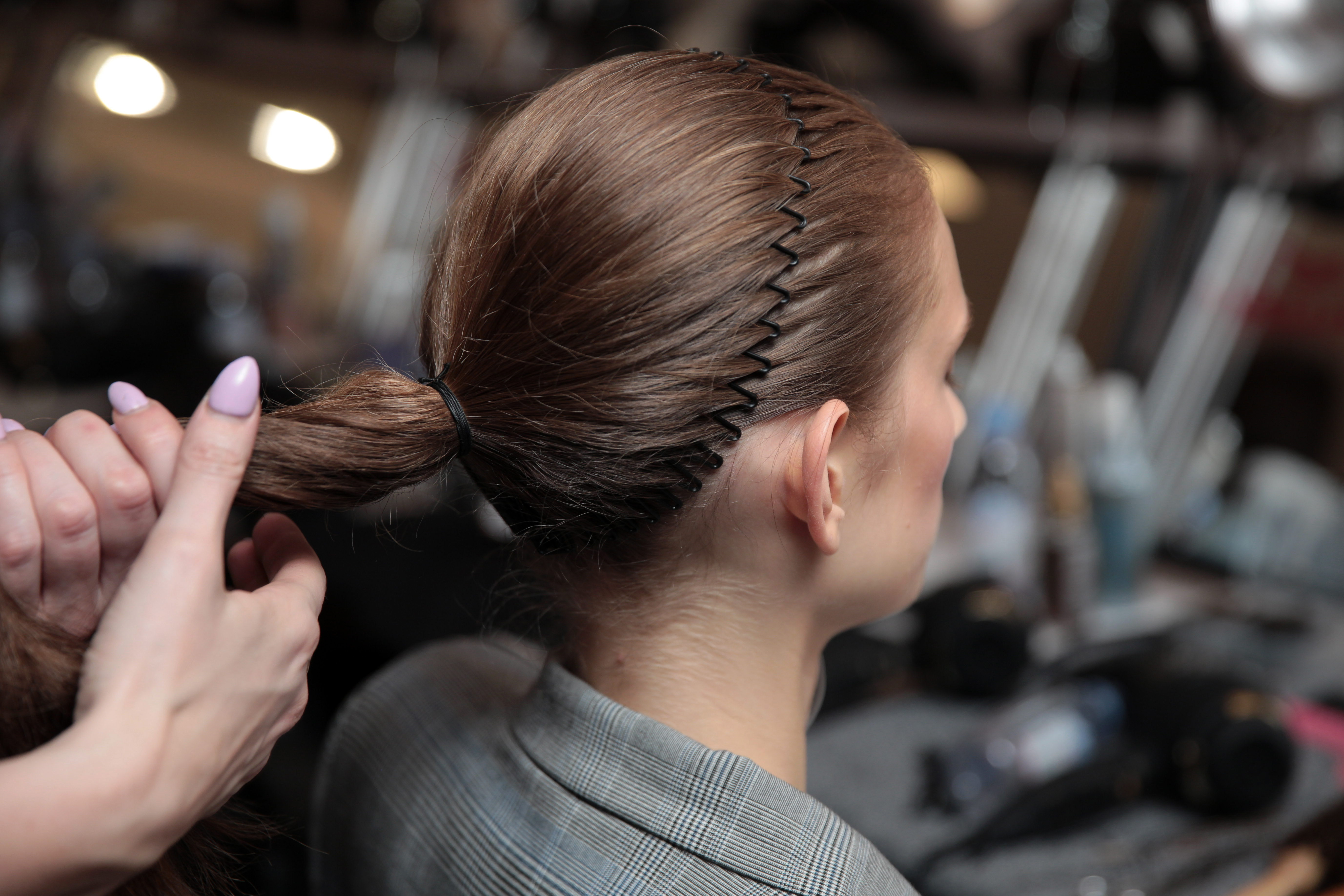 Model backstage, hair detailPrabal Gurung show, Backstage, Fall Winter 2018, New York Fashion Week, USA - 11 Feb 2018