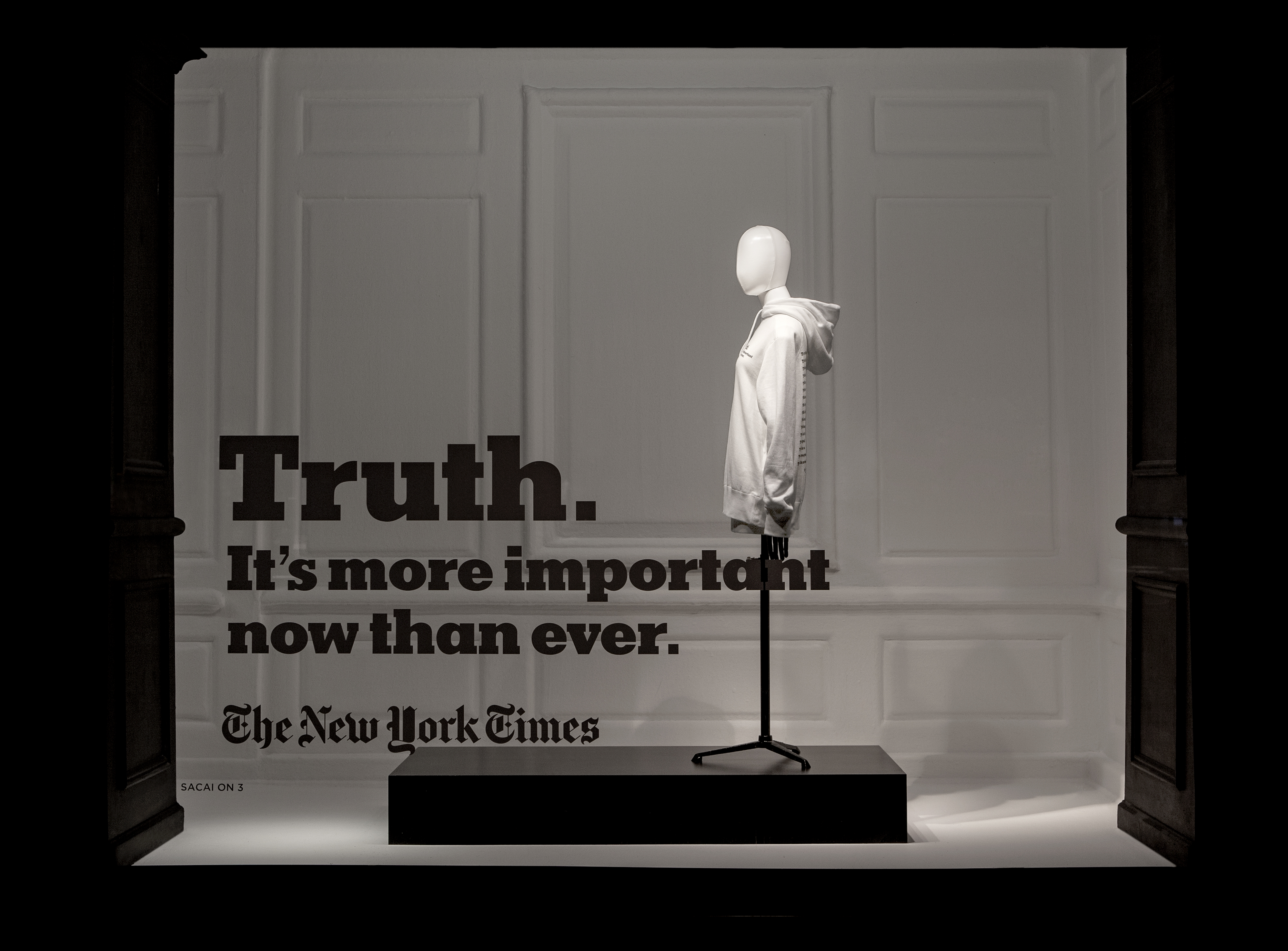 The Sacai New York Times Window at Saks Fifth Avenue.