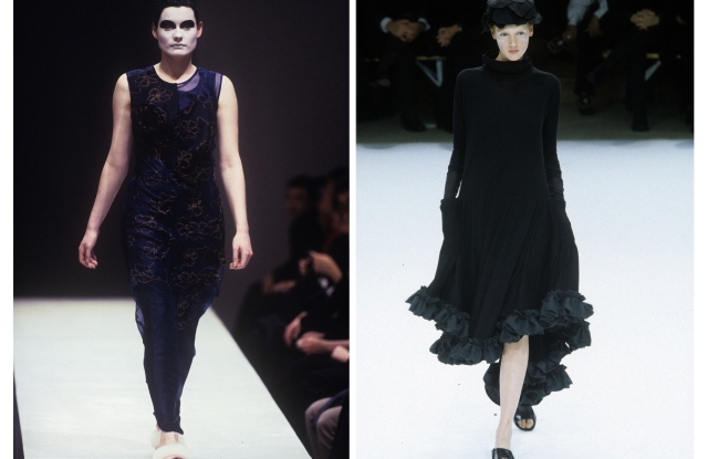 Early Nineties looks by designers Comme des Garçons (L) and Yohji Yamamoto (R).