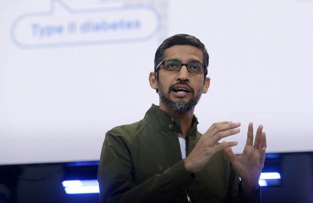 "Google CEO Sundar Pichai speaks at the Google I/O conference in Mountain View, Calif. Google pledges that it will not use artificial intelligence in applications related to weapons or surveillance, part of a new set of principles designed to govern how it uses AI. Those principles, released by Pichai, commit Google to building AI applications that are ""socially beneficial,"" that avoid creating or reinforcing bias and that are accountable to peopleGoogle AI Principles, Mountain View, USA - 08 May 2018"