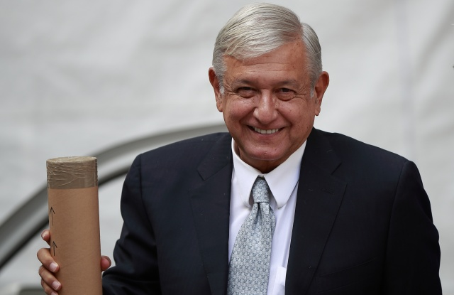 President-elect of Mexico Andres Manuel Lopez Obrador arrives for a meeting with the Ambassador of the Republic of China in Mexico Qiu Xiaoqi (out of frame), in Mexico City, Mexico, 02 August 2018. Obrador will seek the adjustment of the trade balance with China, for which a Mexican delegation will travel to the Asian countryLopez Obrador will seek adjustment of trade balance with China, Mexico City - 02 Aug 2018