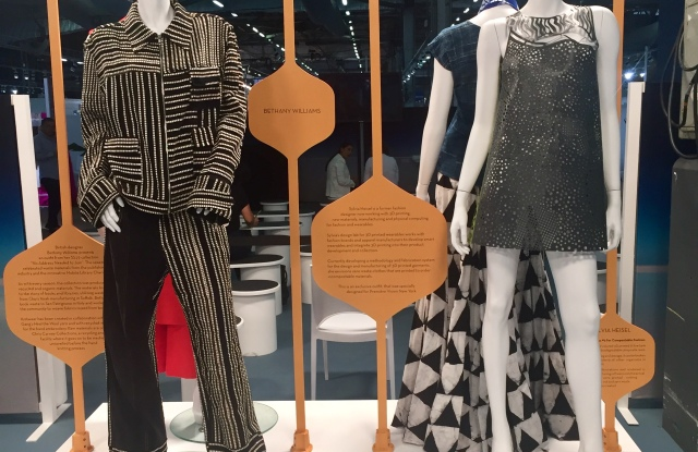 Bethany Williams' sustainable knitwear outfit (left). Sylvia Heisel's 3-D printed dress (right) at Première Vision New York.