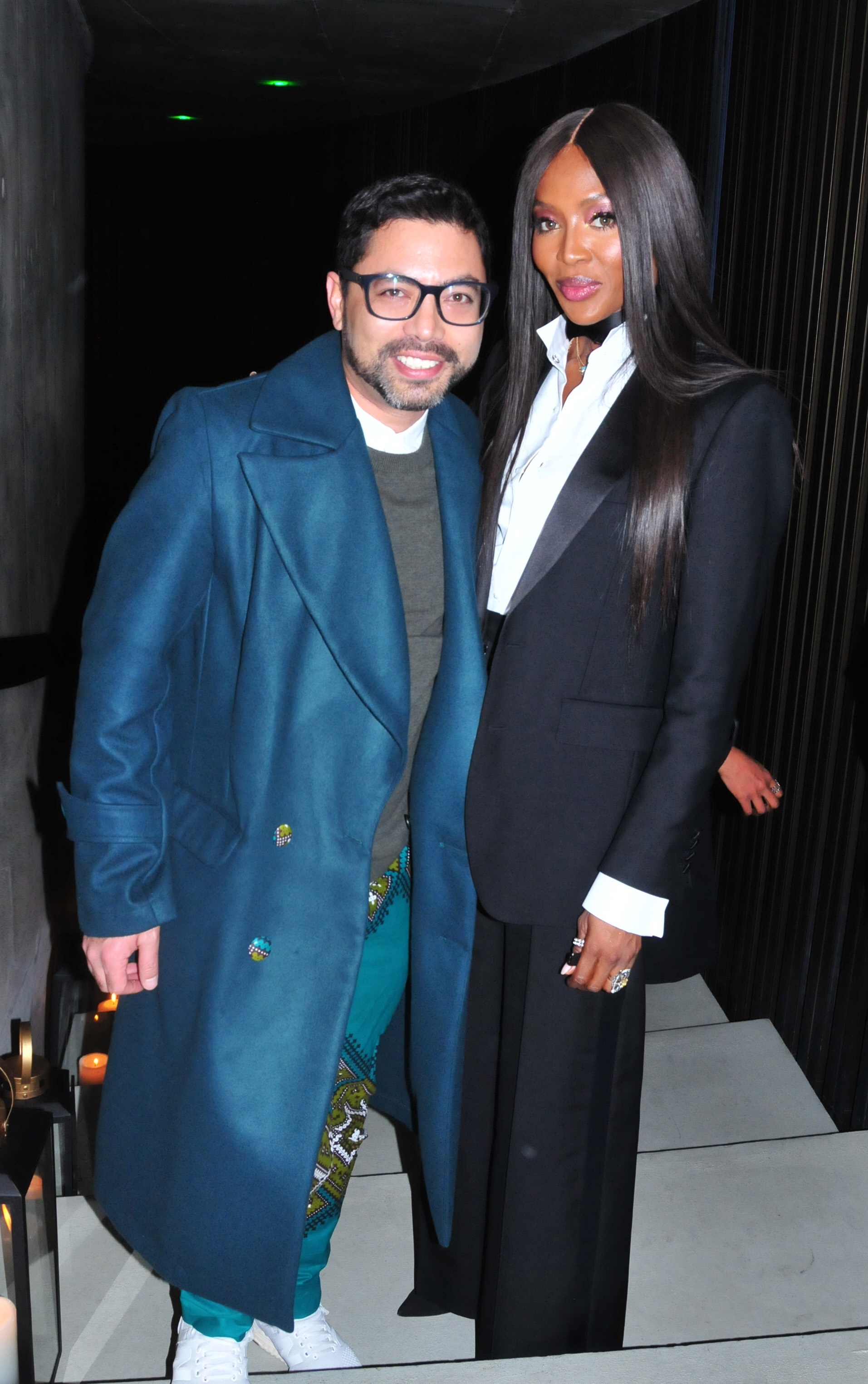 South African designer and personality Craig Jacobs with Naomi Campbell at the launch event.