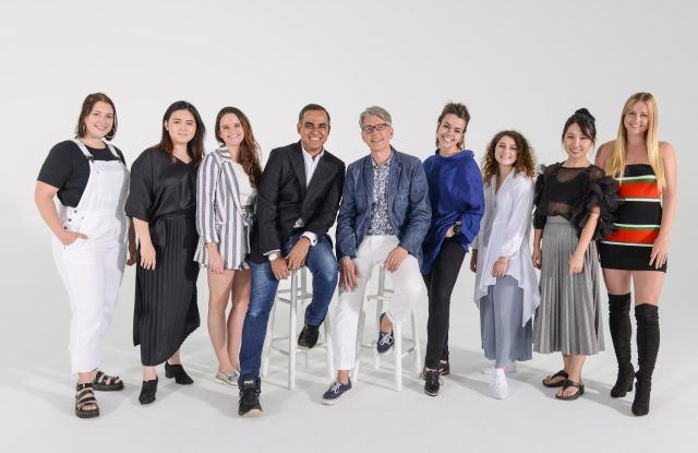 Bibhu Mohapatra and Buxton Midyette (center) with Supima Design Competition finalists, from left: Alanna Lizun, Jessica Chang, Jessica Rubinstein, Paula Amaral, Bryn Lourié, Lili Shi and Genevieve Lake.
