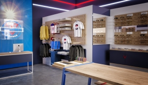 Rendering of the interior of the Vuarnet store