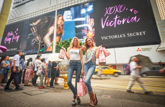 HONG KONG, HONG KONG - JULY 23:  Victoria's Secret Angels Martha Hunt (L) and Josephine Skriver pose for photographs to promote the launch of Victoria's Secret Hong Kong Flagship Store in Jardine's Bazaar, Causeway Bay, on July 23, 2018 in Hong Kong, Hong Kong. (Photo by Nicky Loh/Getty Images for Victoria's Secret)