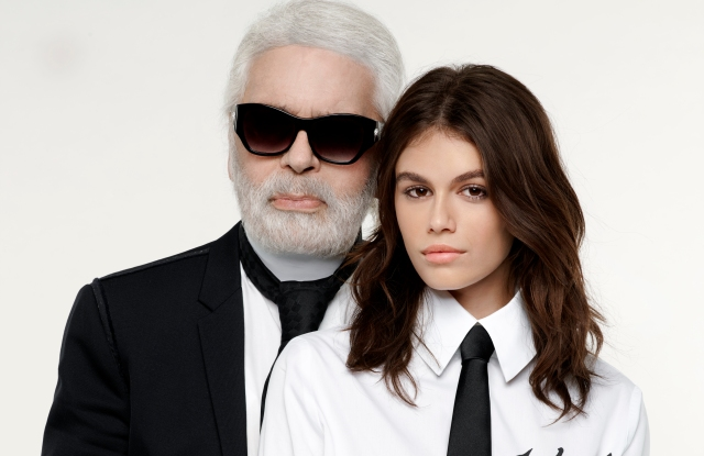 Karl Lagerfeld and Kaia Gerber in