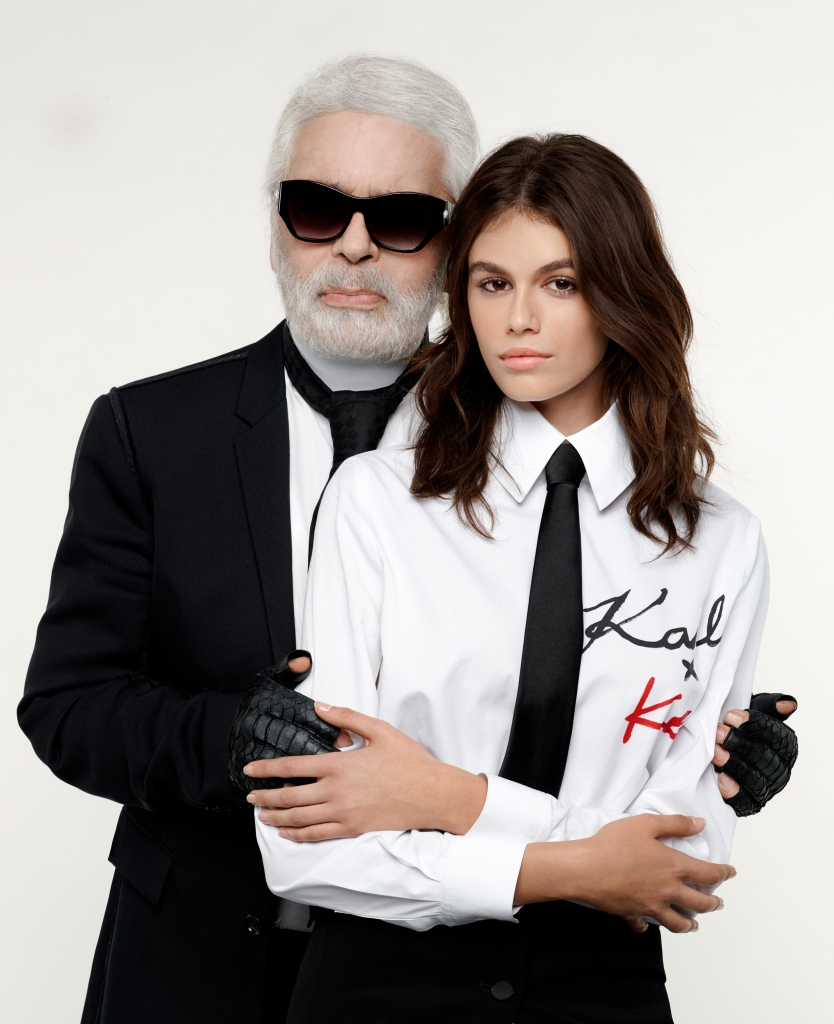 Karl Lagerfeld and Kaia Gerber in the campaign for the collaborative capsule.