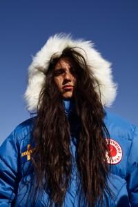Xiuhtezcatl Martinez in the campaign for the Acne Studios x Fjällräven capsule.
