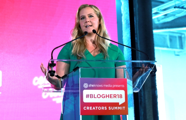 Amy Schumer speaks onstage at BlogHer 2018 Summit at Pier 17 in New York City.