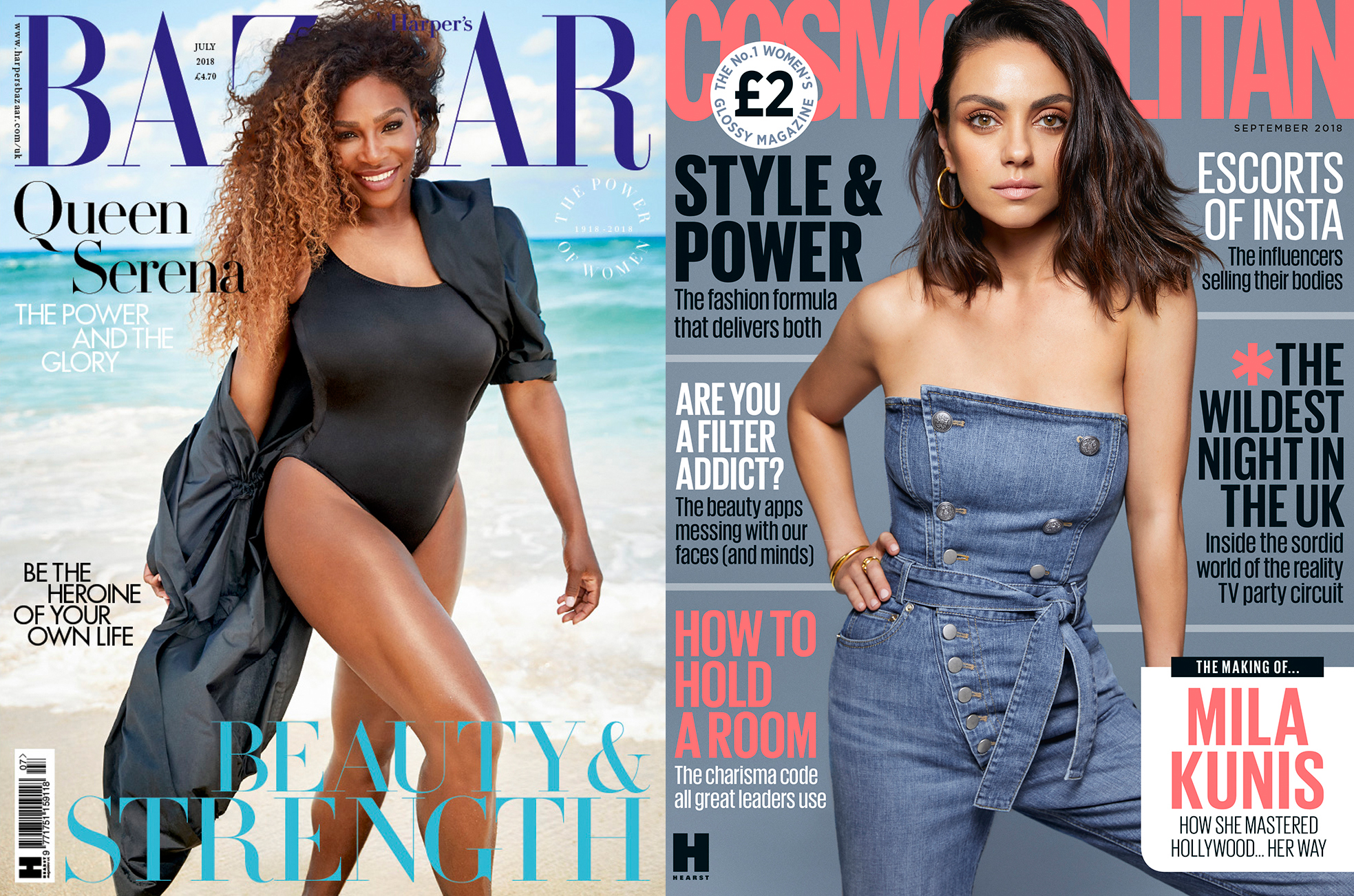 The covers of Harper's Bazaar U.K. and Cosmopolitan U.K.